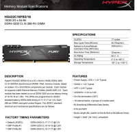 KINGSTON Hyperx 16GB 3200MHz DDR4 HX432C16FB3/16 Ram