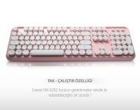 Everest ROUND KM-6282 Pembe Kablosuz Q Multimedia Klavye + Mouse Set