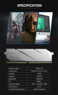 HIKVISION U10 8GB DDR4 3000MHz CL19 Soğutuculu HKED4081CBA2D1ZA2