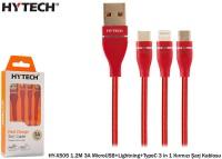 Hytech HY-X505 1.2M 3A MicroUSB+Lightning+TypeC 3 in 1 Kırmızı Şarj Kablosu