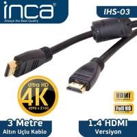 İnca Ihs-03 Altın Uçlu 4k Ultra Hd 3D Hdmı Speed Cable. 3 Metre