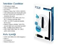 INCA IUWA-150TX 150MBPS 5DBI TEK ANTEN USB KABLOSUZ ADAPTÖR