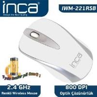 """İnca Iwm-221Rs 2.4Ghz Wireless Nano Alıcılı """"Pil Hediyeli"""" Mouse  Beyaz"""