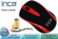 """İnca Iwm-221Rs 2.4Ghz Wireless Nano Alıcılı """"Pil Hediyeli"""" Mouse Kırmızı"""