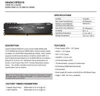 KINGSTON HX424C15FB3/16 16GB 2400Mhz DDR4 CL15 RAM