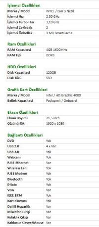Turbox i5m 3.Gen 4GB Ram 120GB SSD 21,5'' All In One Pc