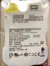 """WD Blue 500GB 5400rpm 16MB WD5000LPCX 2.5"""" Harddisk"""