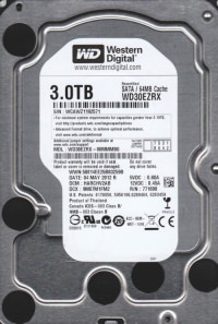 WD. WD30EZRX GREEN 3TB INTELIPOWER 64MB SATA3 6Gbit/sn HDD